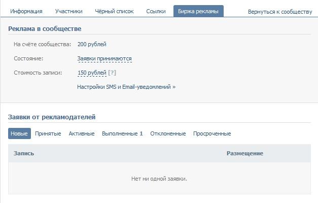 Управление рекламой в пабликах Вконтакте