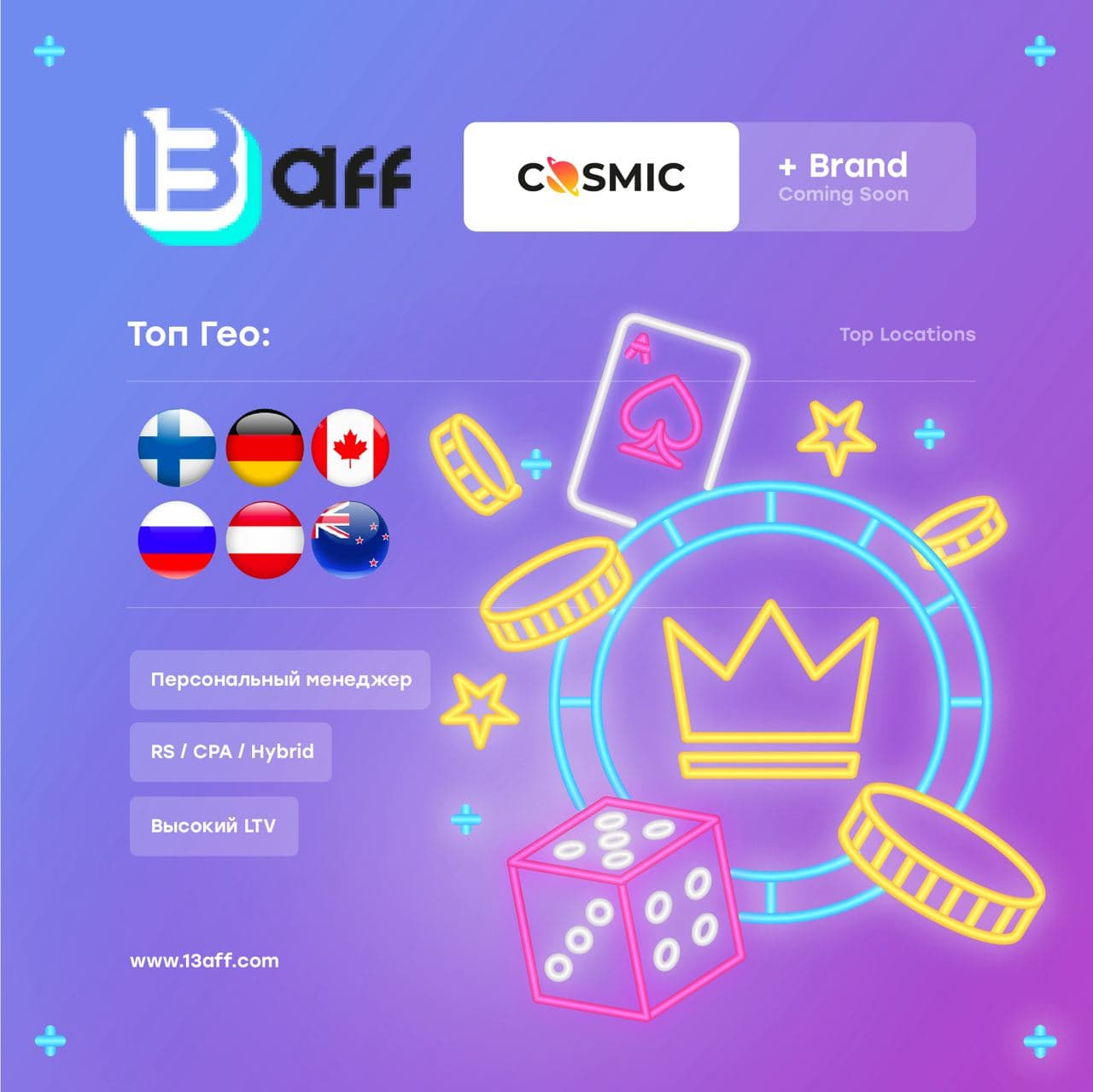 Обзор партнёрской программы 13aff.com